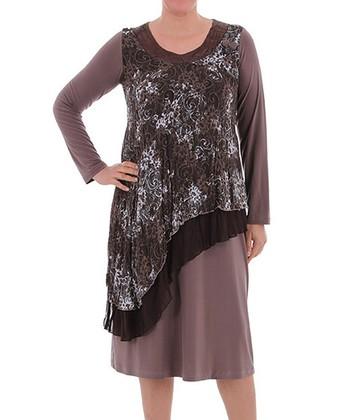 Brown Ruffle Scoop Neck Dress - Plus