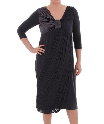 Anthracite Knot-Front Three-Quarter Sleeve Dress - Plus