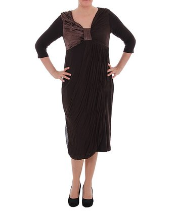 Brown Knot-Front Three-Quarter Sleeve Dress - Plus