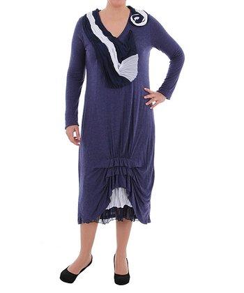 Night Blue Ruffle-Hem V-Neck Dress - Plus