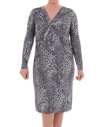 Black Leopard V-Neck Dress - Plus
