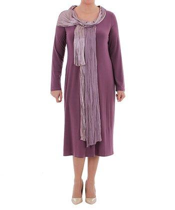 Plum Scarf Knot Cowl Neck Dress - Plus