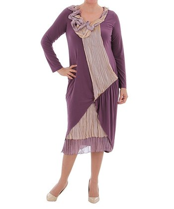 Plum Crinkle Tier Scoop Neck Dress - Plus