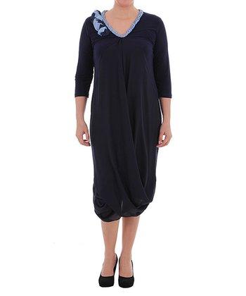 Navy Tulip Dress - Plus