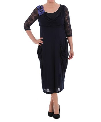 Navy Drape Three-Quarter Sleeve Dress - Plus