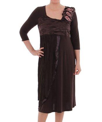 Brown Empire-Waist Dress - Plus