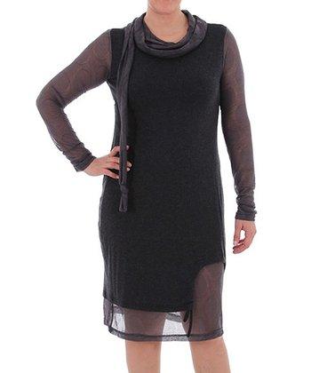 Black Sheer Layered Dress - Plus
