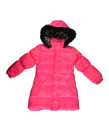 Pink Faux Fur Hooded Puffer Coat - Girls