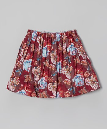 Hydrangea Butterfly Solvay Reversible Skirt - Girls