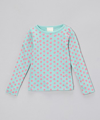Pastel Turquoise & Hot Pink Polka Dot Tee - Toddler & Girls