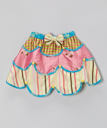 Pink & Blue Tiered Silk Skirt - Toddler & Girls
