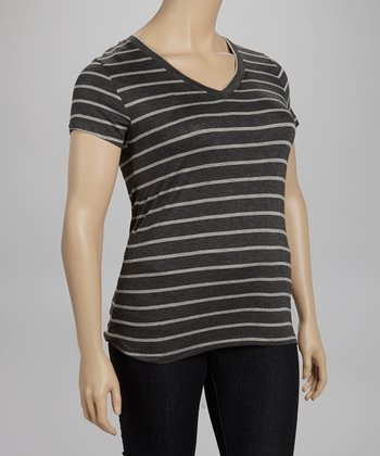 Gray & Charcoal Stripe V-Neck Tee - Plus