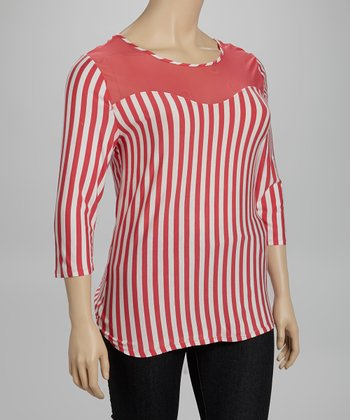 Coral & White Stripe Top - Plus