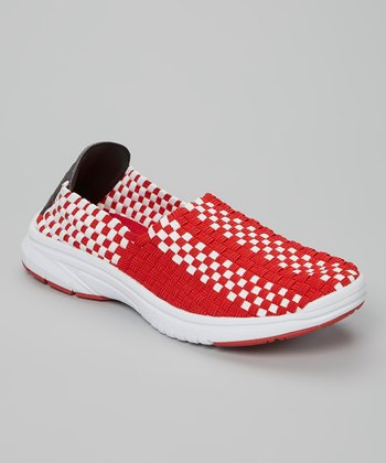Red & White Checkerboard Slip-On Sneaker - Unisex