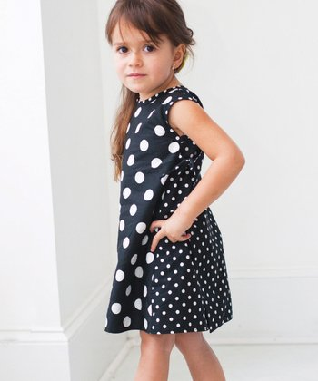 Black & White Georgia Kate Wrap Dress - Infant, Toddler & Girls