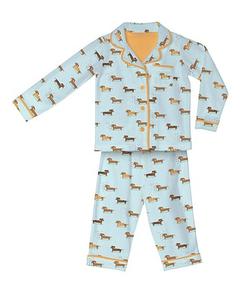 Light Blue Wiener Dog Flannel Pajama Set - Infant, Toddler & Kids