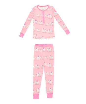 Pink Elephant Pajama Set - Toddler & Girls