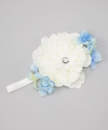 White & Blue Flower Headband