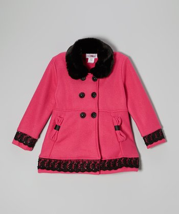 Pink Double Button Fleece Coat - Toddler & Girls