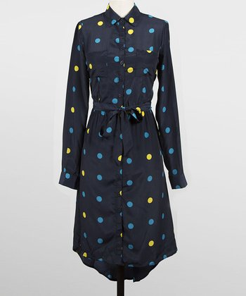 Navy & Yellow Polka Dot Boston Commons Shirt Dress