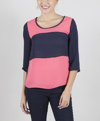 Coral & Navy Color Block Top