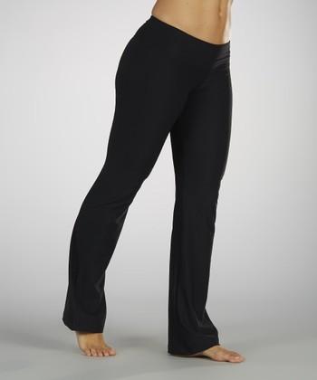 Black Flat-Waist Pants - Women