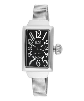 Silver & Black Rectangle Miami Beach Art Deco Mesh Watch