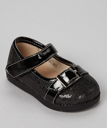 Sneak A' Roos Black Sparkle Squeaker Mary Jane