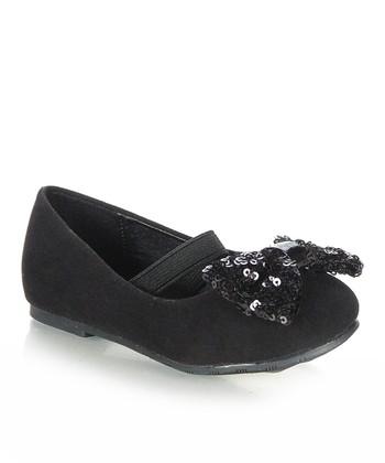 Black Glitter Bow Flat