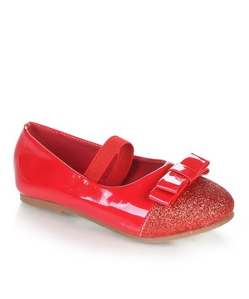 Red Glitter Cap Toe Flat
