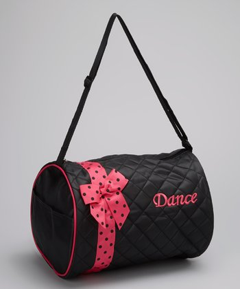Black 'Dance' Bow Quilted Duffel Bag