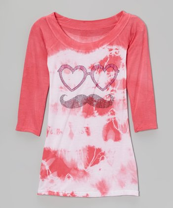 Pink & White Tie-Dye Mustache Raglan Dress - Girls