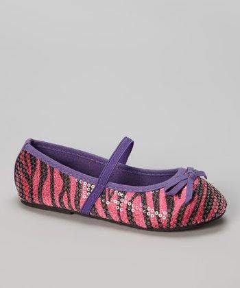Fuchsia & Purple Zebra Ballet Flat