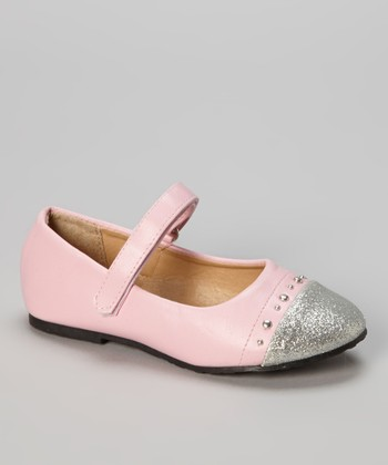 Light Pink Glitter Toe Ballet Flat