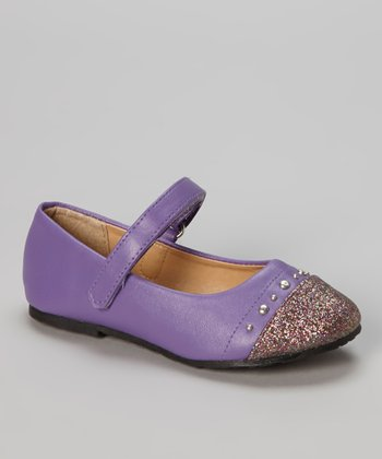 Purple Glitter Toe Ballet Flat