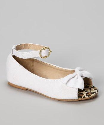 Chatties White Leopard Peep Toe Ballet Flat