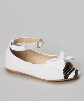Chatties White Zebra Peep Toe Ballet Flat