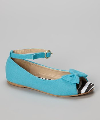 Chatties Turquoise Zebra Peep Toe Ballet Flat