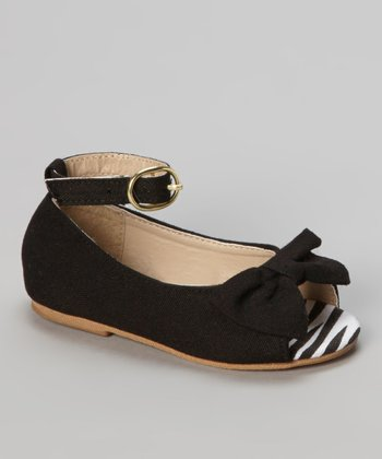 Chatties Black Zebra Peep Toe Ballet Flat