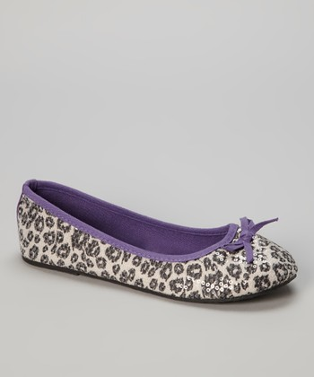 Chatties Gray & Purple Leopard Sequin Ballet Flat