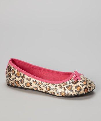 Chatties Fuchsia & Tan Leopard Sequin Ballet Flat