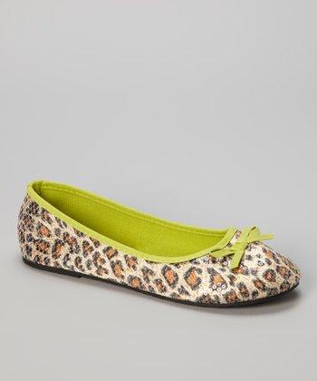 Chatties Lime & Tan Leopard Sequin Ballet Flat