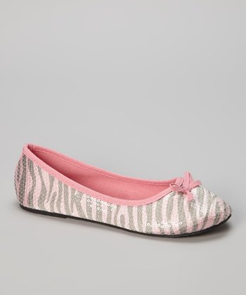 Light Pink & Gray Zebra Sequin Ballet Flat