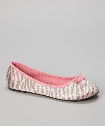 Chatties Light Pink & Gray Zebra Sequin Ballet Flat