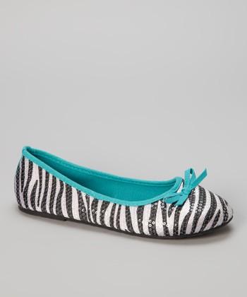 Chatties Turquoise & Black Zebra Sequin Ballet Flat