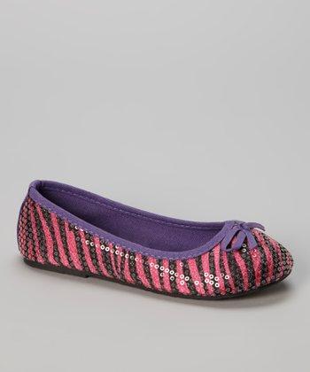 Chatties Fuchsia & Purple Zebra Sequin Ballet Flat