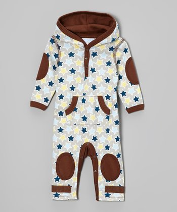Brown Stars Hooded Playsuit - Infant
