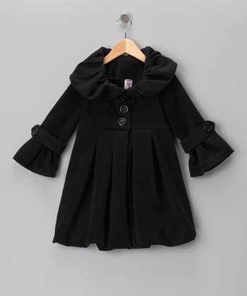 Just Kids Black Lined Pleated Peacoat - Girls