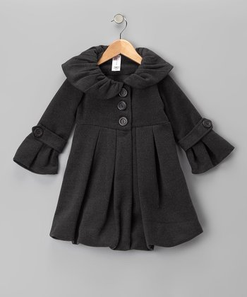 Just Kids Gray Lined Pleated Peacoat - Girls