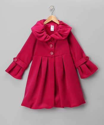 Just Kids Pink Lined Pleated Peacoat - Girls